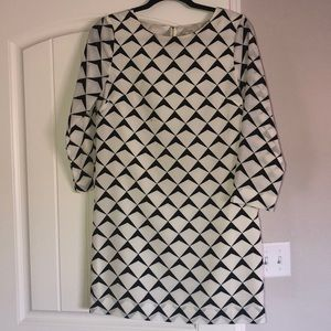 Jcrew White and Black patterned dress.